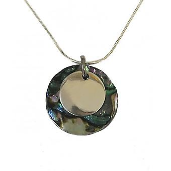 Cavendish French Round Silver and Abalone Shell Pendant with Silver Chain