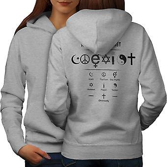 Coexsist World Symbol Women GreyHoodie Back | Wellcoda