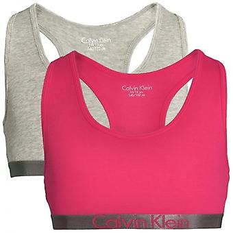 Calvin Klein meisjes 2 Pack aangepaste Stretch Bralette, Heather Grey / Rose rood, Medium