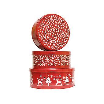 GISELA GRAHAM Cake Tin Set 37434 Red