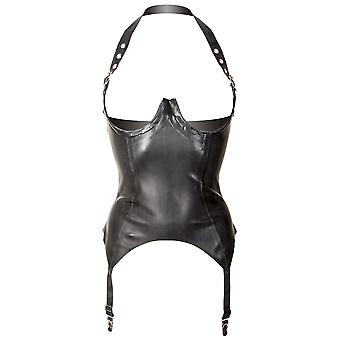 Honour Women's Halter Neck Basque in Sexy Rubber Black Latex Naughty Night Time