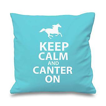 "Aqua Cushion Cover Keep Calm And Canter On 16"" x 16"""