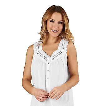 Slenderella ND3231 naisten puuvilla kudottu White Night puku oloasut yöpaita