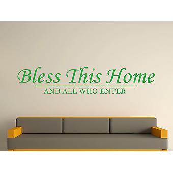 Bénissez cette maison d'art de mur autocollant - vert