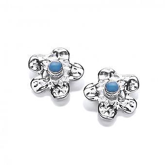 Cavendish francese argento e turchese orecchini fiore