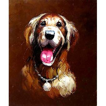 Ein Hund Ölgemälde auf Leinwand, 50x60 cm