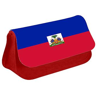 Haiti Flag Printed Design Pencil Case for Stationary/Cosmetic - 0073 (Red) by i-Tronixs