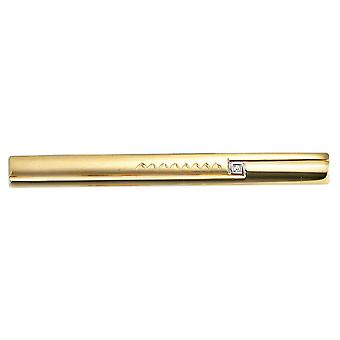 Tie slide 333 gold yellow gold bicolor mat 1 cubic zirconia
