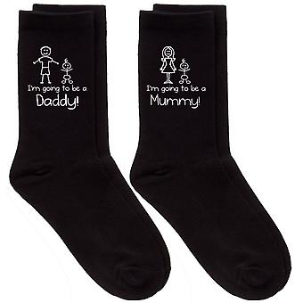 Couples I'm Going To Be A Mummy / Daddy Black Calf Sock Set