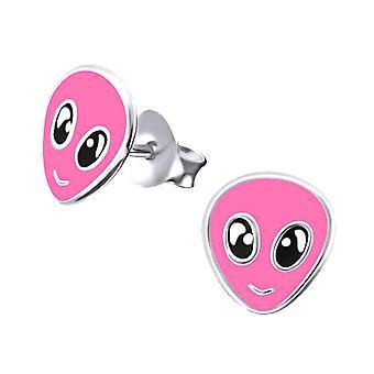 Children's Sterling Silver Pink Alien Stud Earrings
