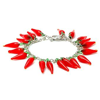 Red Hot Chilli Glass T-Bar Charm Bracelet
