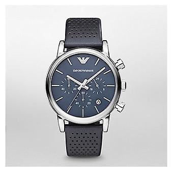 Emporio Armani Ar1736 Gents Blue Face Leather Strap Watch