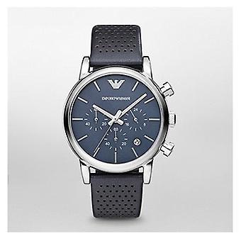 Emporio Armani Ar1736 Gents blå ansikte läder rem Watch