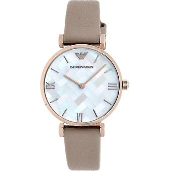 Emporio Armani Ar11111 Brown Leather Mother Of Pearl Dial Ladies Watch