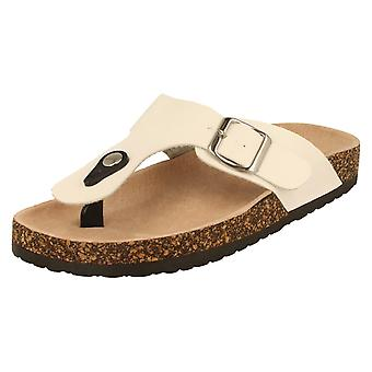 Womens Spot On Toepost Sandals