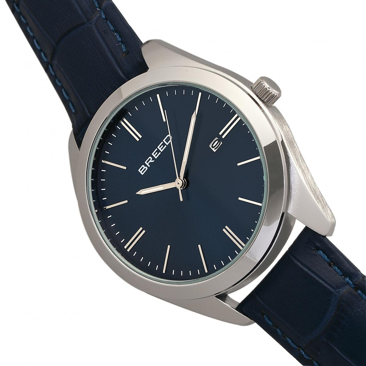 Breed Louis Leather-Band Watch w/Date - Silver/Blue