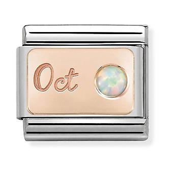 Nomination Classic October Birthstone Steel, White Opal and 9k Rose Gold Link Charm 430508/10