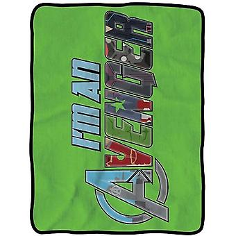 Blanket Marvel Avengers I'm an Logo Green Fleece Throw New cfb-aum2-iamav
