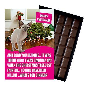 Devon Rex Cat Natale Regalo Divertente Xmas Presenta per Gatto Amanti In scatola Cioccolato Biglietto d'auguri