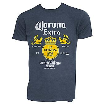 Corona Extra Bottle Label Heather Blue Tee Shirt
