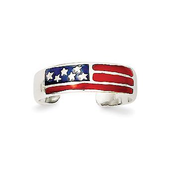 925 sterling zilver Solid gepolijst geëmailleerd vlag teen ring-1,6 gram