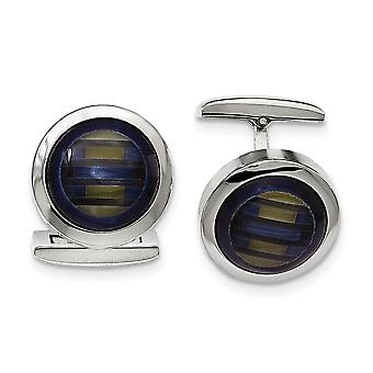 Stainless Steel Polished Blue Cats Eye Cuff Links Jewelry Gifts for Men