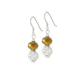 Eternal Collection Majestic Gold Crystal Drop Pierced Earrings