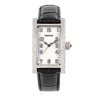 Heritor Automatic Jefferson Leather-Band Watch - Argent/Blanc