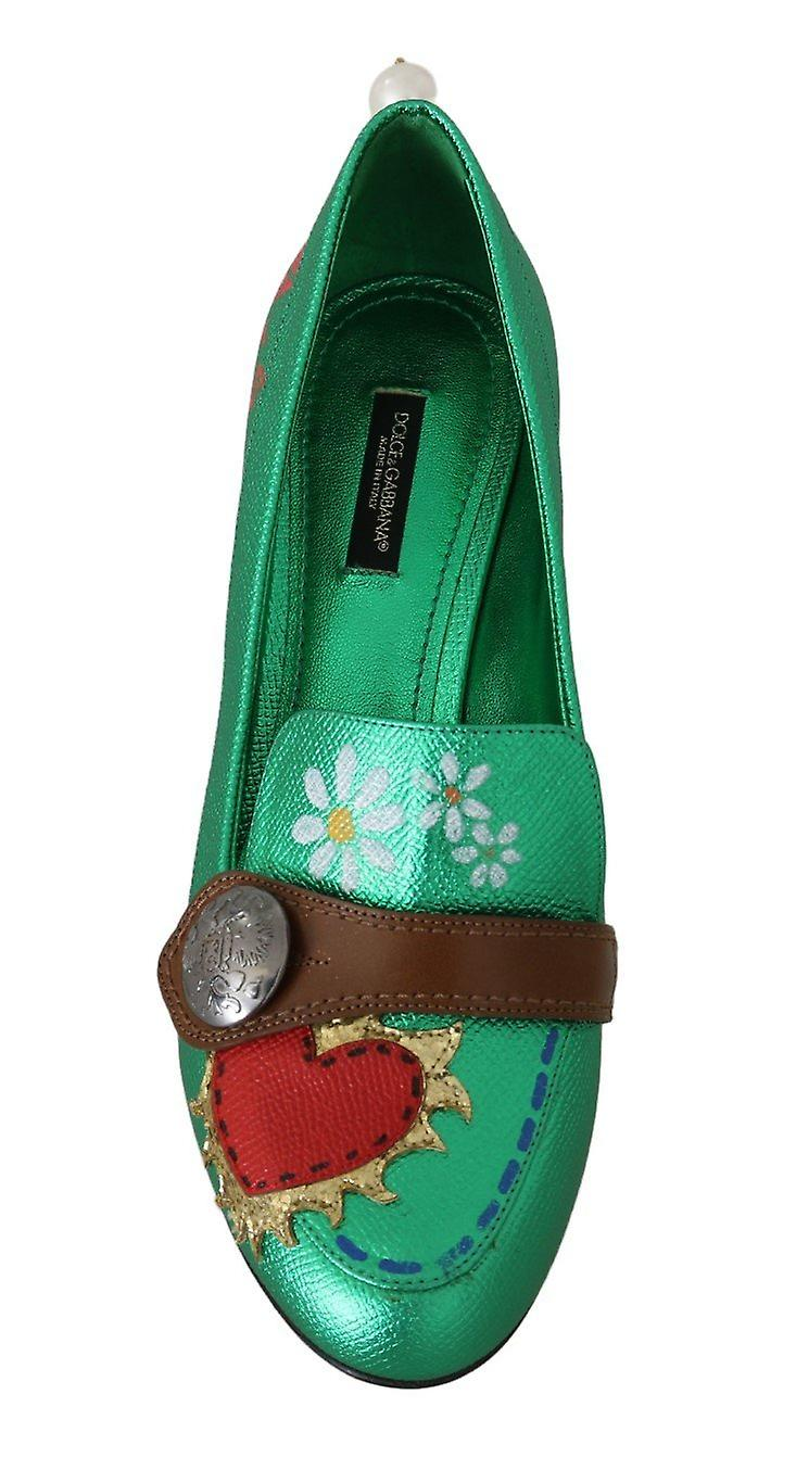 Green Leather Heart Moccasins Pumps
