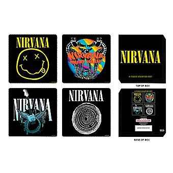 Nirvana Coaster Nevermind Band Logo new Official Black Mixed 4 pack Set