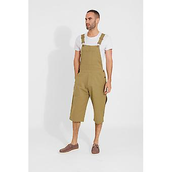 Jesse mens slim fit cotton dungaree shorts - olive