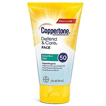 Coppertone defend & care sensitive skin sunscreen lotion, spf 50, 2 oz