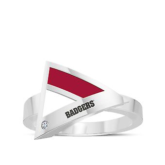 University Of Wisconsin Engraved Sterling Silver Diamond Geometric Ring In Red & White
