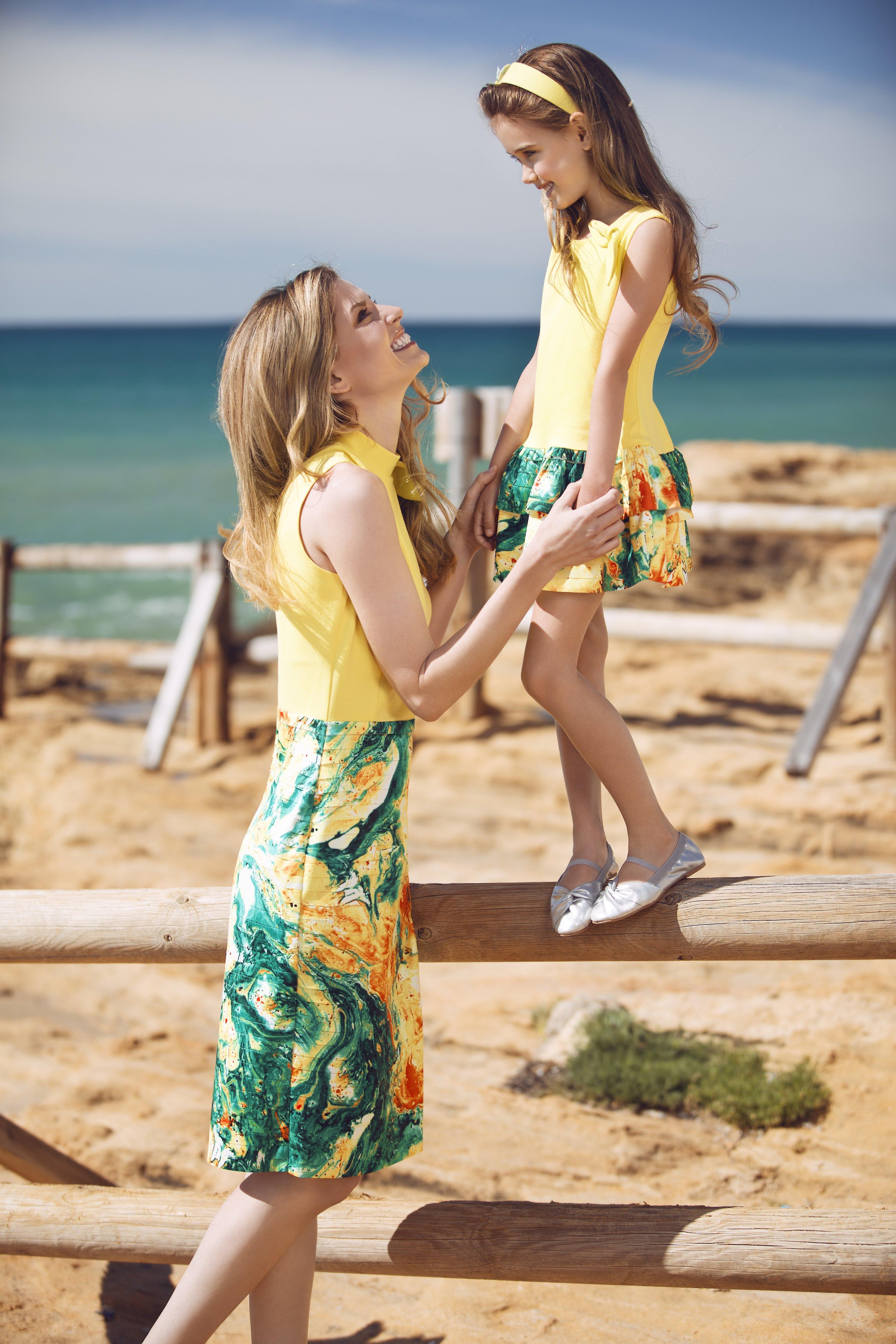 Yellow matching dress set