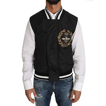 Schwarze Nylon Royal Crown Bee Logo Jacke
