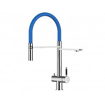 3way Kitchen Filter Mixer 100% Stainless Steel, 360° Turn Colored Movable Spout, 2 Jets Removable Spray, Polished Finish - Blue - 417