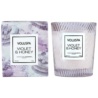 Voluspa Macaron Boxed Textured Glass Candle Violet & Honey 184g