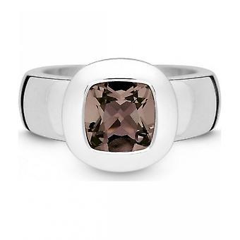 QUINN-ring-kvinder-sølv 925-ædelsten-røget kvarts-bredde 56-21003632