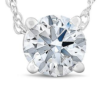 1/4 Ct Diamond Solitaire Pendant 14k White Gold Lab Created IGI Certified