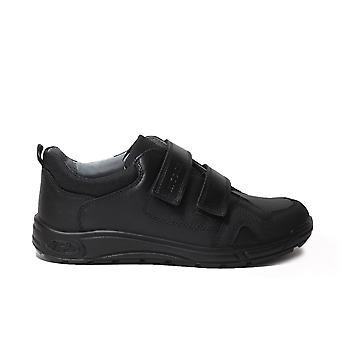 Ricosta Tamo Wide Fit Negro Cuero Niños Rip Tape Trainer School Zapatos