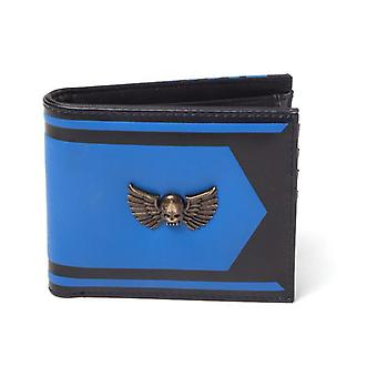 Warhammer 40K Space Marines Logo Metal Badge Bi-fold Wallet Male Blue/Black