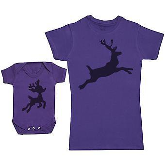 Baby Reindeer & Reindeer Matching Mother Baby Gift Set - Womens T Shirt & Baby Bodysuit
