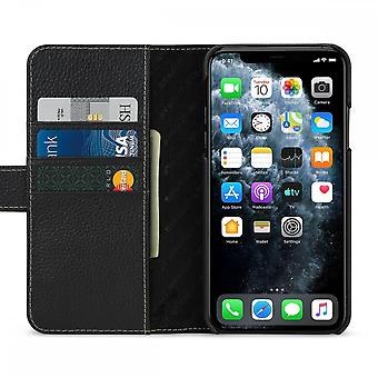 Case For iPhone 11 Pro Max Black Grained Card Holder In True Leather