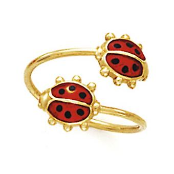14k Yellow Gold Double Ladybug Toe Ring Jewelry Gifts for Women - 1.1 Grams