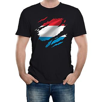 Reality glitch torn luxembourg flag mens t-shirt