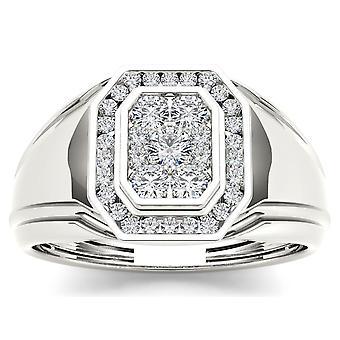 Igi gecertificeerd 10k wit goud 0,50 ct echte diamant mannen 's halo trouwring