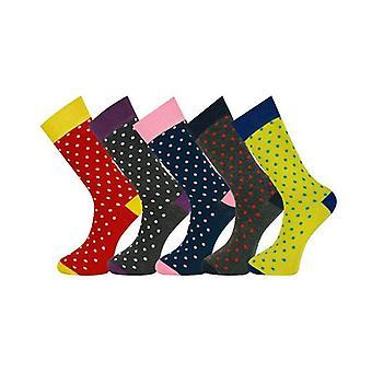 5 Pairs Mens Socks Polka Dots With Gift Box