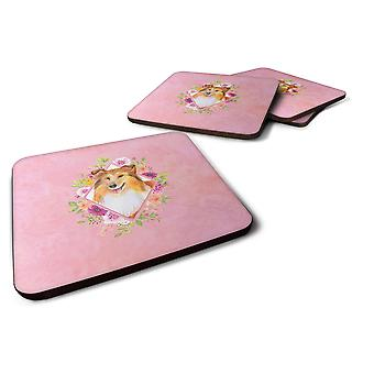 Set of 4 Sheltie Shetland Sheepdog Pink Flowers Foam Coasters Set of 4