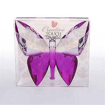 The Sparkle Collection Clear Purple Coloured Solid Plastic Crystal Effect Butterfly Ornament