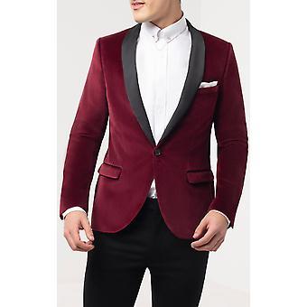 Twisted Tailor Mens Burgundy Tuxedo Dinner Jacket Skinny Fit Velvet Contrast Shawl Lapel
